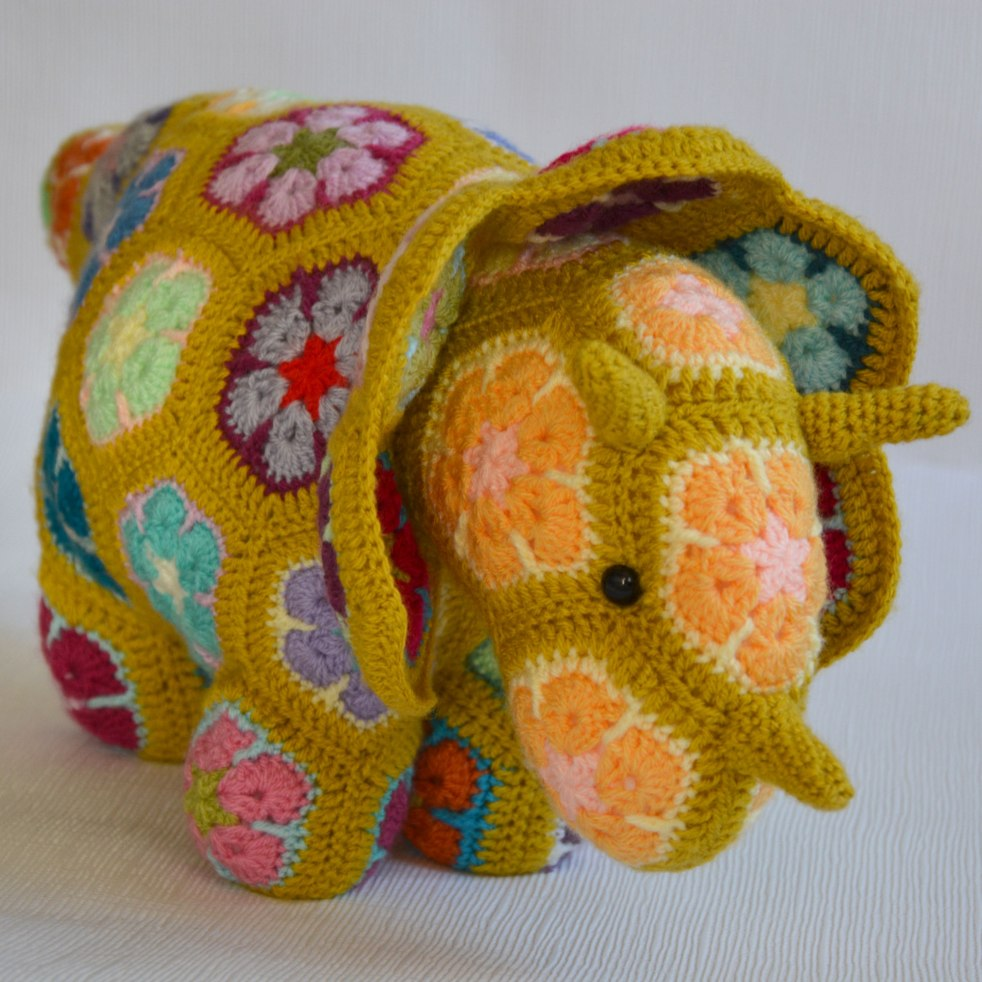 Tricky the Triceratops crocheted toy